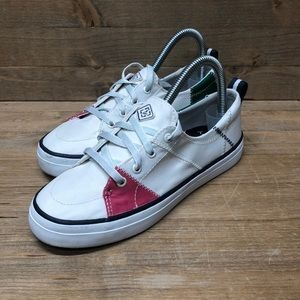 Sperry Women's White Green Pink Sneakers Size 6.5